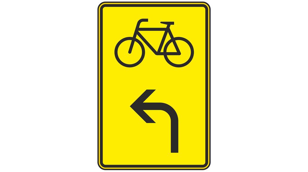 Verkehrsschilder, Verlauf des Radweges
