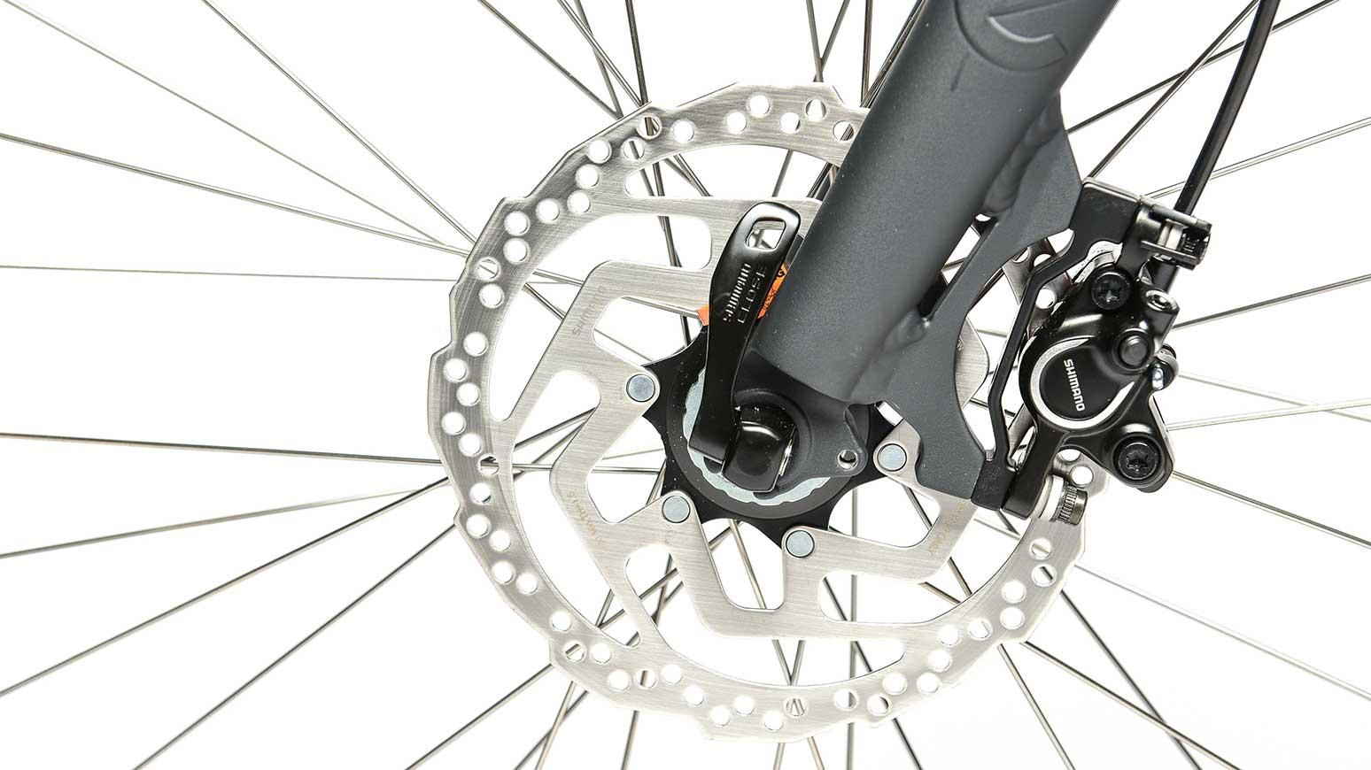 Große 180 mm Scheibe im Vorderrad – wie beim Mountainbike – schwerlastfähig!
