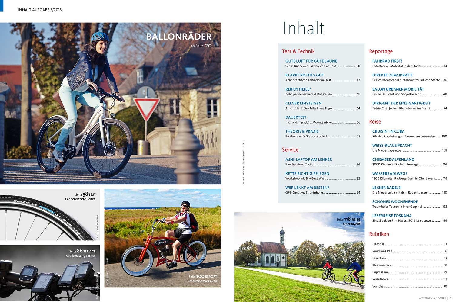 Inhalt der aktiv Radfahren 5-2018