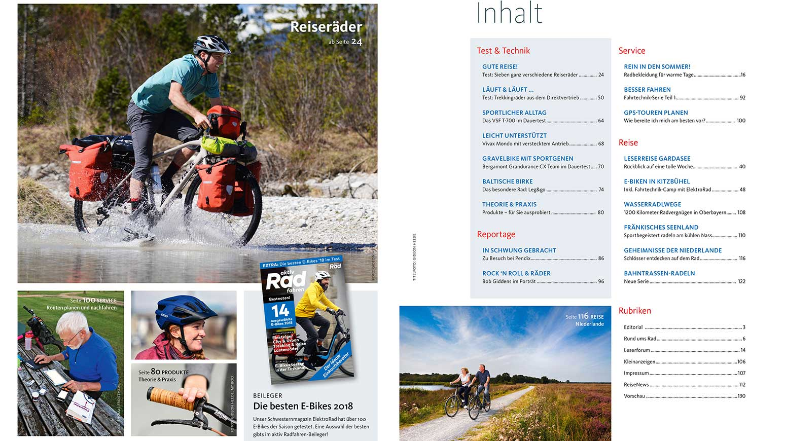 Inhalt der aktiv Radfahren 6-2018