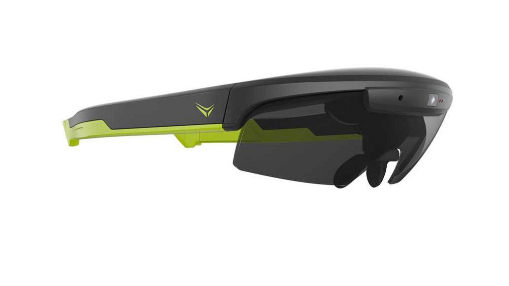 So sieht die smarte Brille für Radfahrer aus: Die Raptor in Grün.