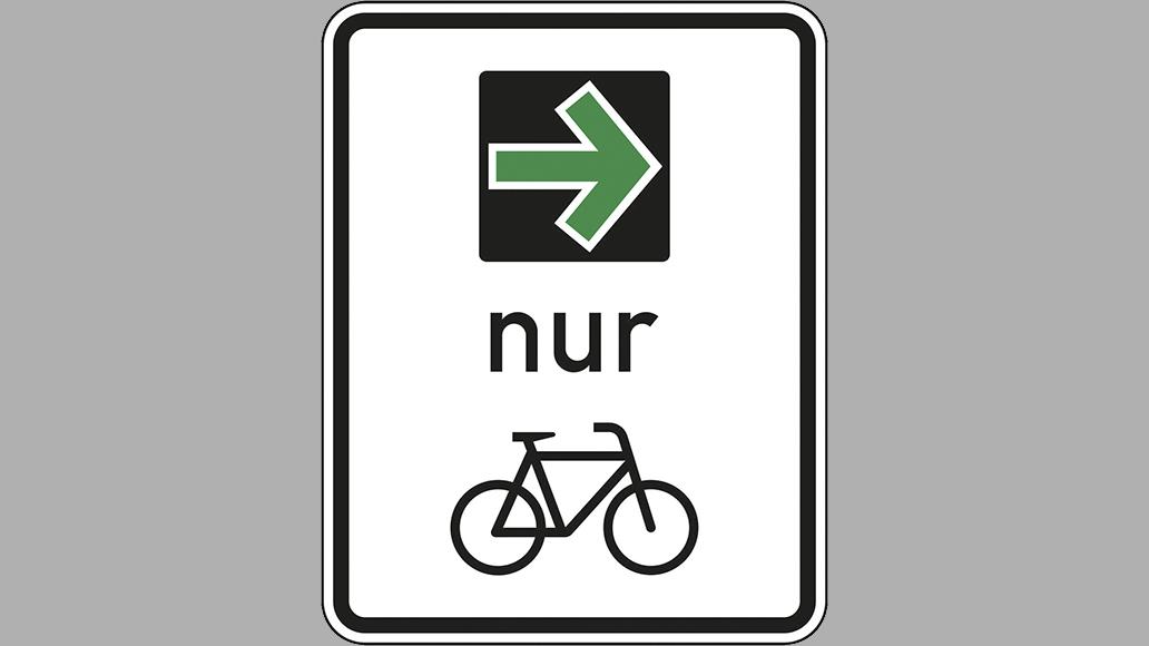 Der grüne Pfeil in seiner Spezialversion für Radfahrer.