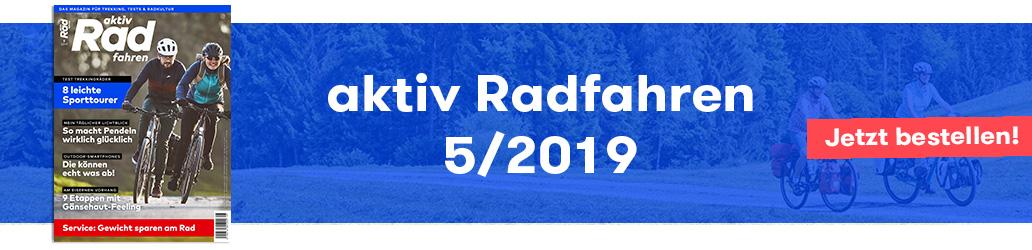 aktiv Radfahren 5/2019, Aktuelle Ausgabe, Banner, Inhalte
