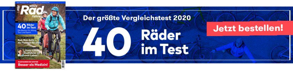 aktiv Radfahren 1-2/2020, Megatest 2020, Banner