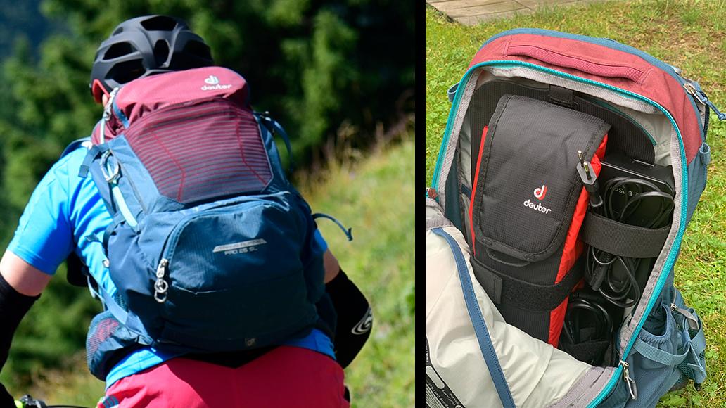 Der Deuter Trans Alpine Pro mit E Tasche (rechts).