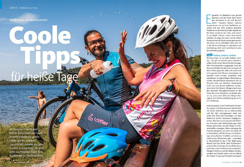 Radfahren bei Hitze, Heftinhalt