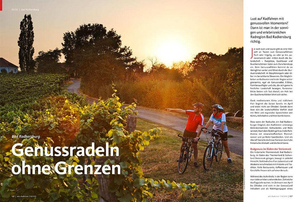 Steiermark, Bad Radkersburg, aktiv Radfahren 7-8/2020