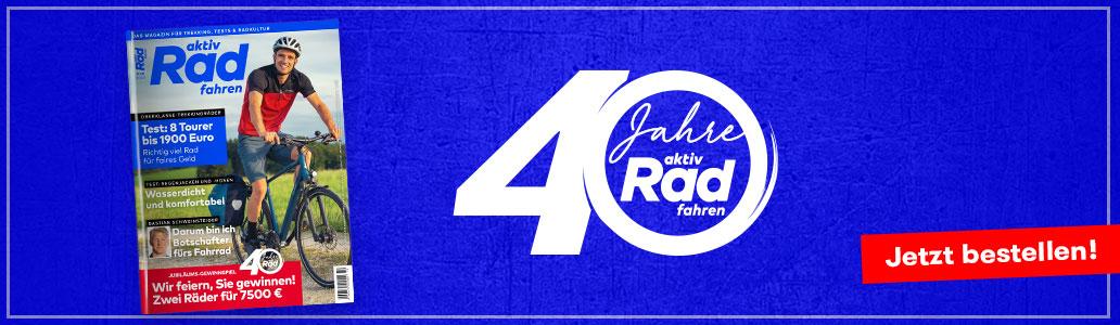 aktiv Radfahren 9-10/2020, 40 Jahre aktiv Radfahren, Jubiläum, Banner