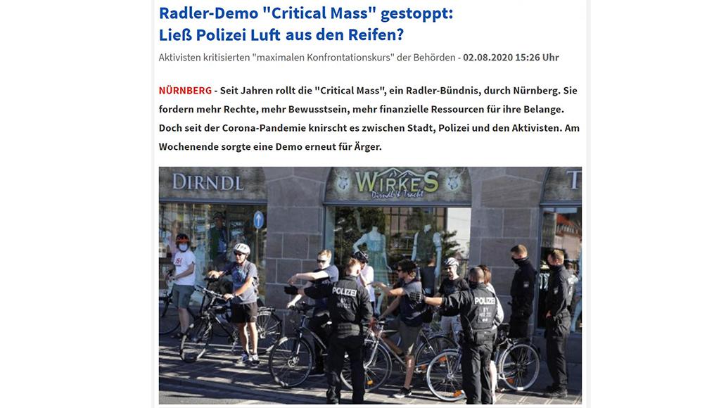 Critical Mass Nürnberg, Radfahren, Polizei, Fahrrad Aktionsform