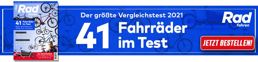 Radfahren 1-2/2021, Megatest, Banner