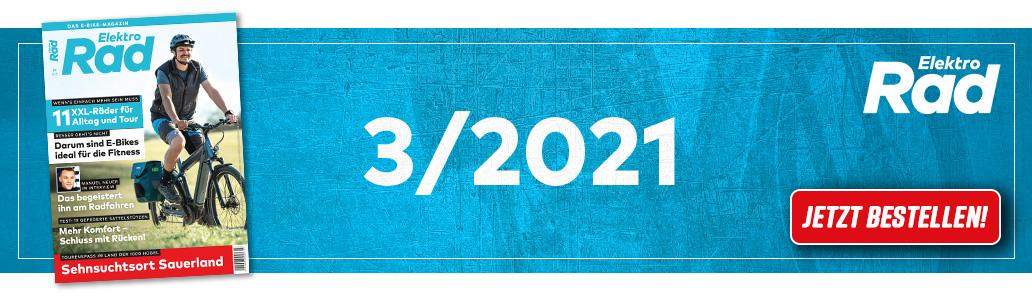 ElektroRad 3/2021, Banner, XXL-Räder, Heftinhalt, Manuel Neuer, Sattelstützen, Ausgabe