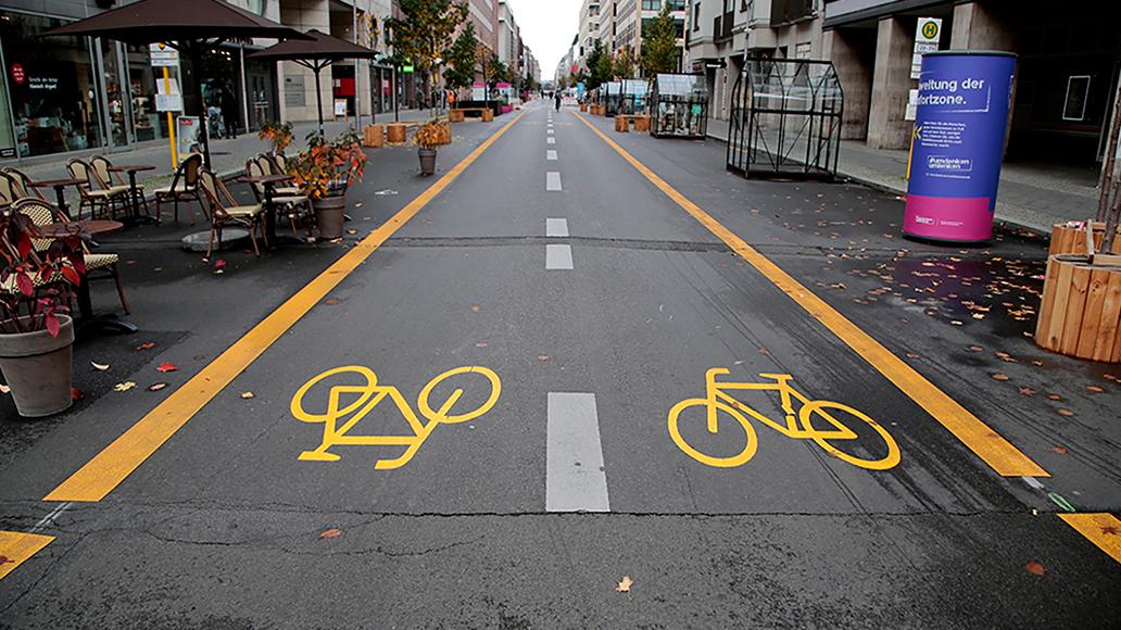 Pop-up-Radweg, Fahrrad, Radfahren, Berlin, E-Bike