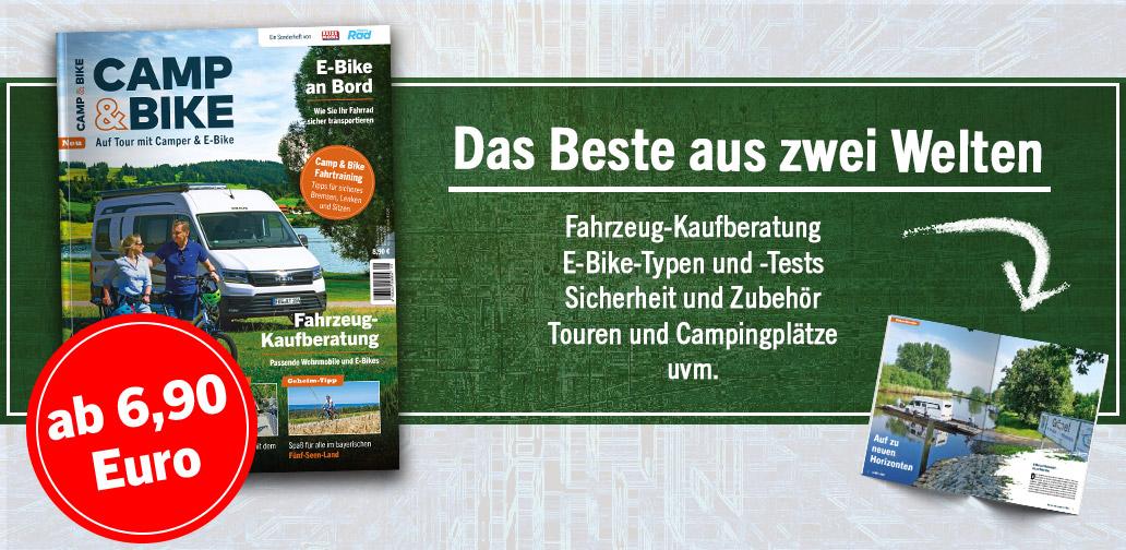 Camping, Camp & Bike, E-Bike, Banner